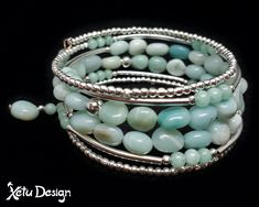 Amazonite nuggets memory wire bracelet by XetuDesign on Etsy Memory Wire Bracelets, Beaded Bracelets, Handmade Shop, Handmade Jewelry, Craft Making, Etsy Jewelry, Round Beads, Gemstone Jewelry, Turquoise Bracelet