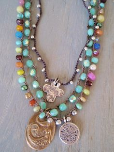 Colorful crochet necklace 'California Girl' multi color semi precious stone glass Thai silver heart beach surfer chic