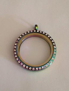 Beautiful stainless steel 30mm locket in a rainbow hue