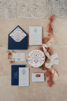 Beautiful patterned wedding stationery in navy and dusty mauve Colorful Wedding Invitations, Destination Wedding Invitations, Printable Wedding Invitations, Wedding Invitation Design, Wedding Stationary, Invites, Mauve, Wedding Designs, Our Wedding