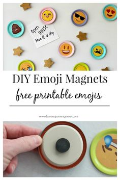 So colorful and fun! The kids are going to love these emoji magnets! Comes with free printable emoji too!  DIY crafts