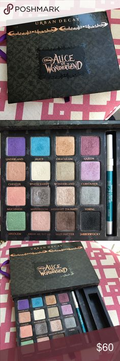 Urban Decay Alice in Wonderland Eyeshadow Palette Collectors item! This palette is no longer available. It does not come with the black liner or the shadow primer. (Teal liner is included) Mushroom and Mad Hatter colors have some use (not much definitely nowhere near hitting pan). A few other colors were used 1-2x. Urban Decay Makeup Eyeshadow