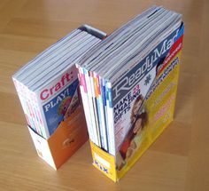 Cereal Boxes turn into Magazine Holders, without any cost!  You can even spray paint them if you like.