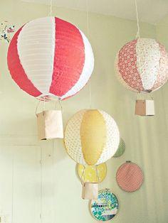 Deko Kinderzimmer zum selbermachen heißluftballonen papierlaternen
