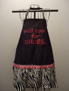 Women's Diva 'Will Cook for Shoes' Apron $22 #apron #zebra #diva