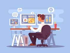 Stock trader sits in armchair and looking at graphics market fluctuations. Vector illustrationVector files, fully editable.