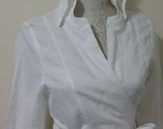 Linen White Blouse Women Womens Slim Fit Long, Sleeve Dress Shirt, White Wrap Shirt, Womens Formal Blouse, Blouse