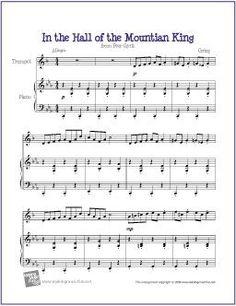 In the Hall of the Mountain King - Free Easy Trombone Sheet Music (Digital Print) Free Clarinet Sheet Music, Trumpet Sheet Music, Easy Sheet Music, Piano Sheet Music, Music Music, Violin Music, Music Sheets, Music Lesson Plans, Music Lessons