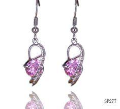 $3.18 42x10mm Hot Pink Heart Spiral Crystal Dangle 925 Sterling Silver Women Earrings Eardrop