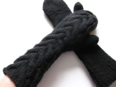 Black elbow length bella twilight mittens pure chunky wool hand knit  ready to ship. $35.00, via Etsy.