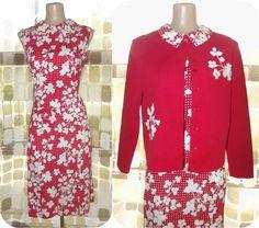 $39.99 #Vintage #60s Red & White Polka Dot Floral Shift #Dress and #Cardigan Set L XL #VCAT #VINTAGELOVE by IntrigueU4Ever, $39.99