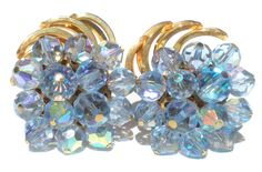 Light Blue Glass Cluster Clip Earrings with Aurora by RibbonsEdge