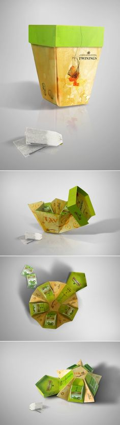Inspired by the upcoming closing of the cup, is designed for the packaging of tea bagsThese packages are designed for use in offices and workplaces so easy access and provides a nice view for the consumer. Craft Packaging, Cool Packaging, Tea Packaging, Beverage Packaging, Creative Box, Creative Design, Innovative Packaging, Types Of Packaging, Tea Design