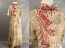Vampire Bride Costume. Zombie Costume. Bloody Distressed Vintage 70s Tan Ruffled Dress. Halloween Costume Size 14 L