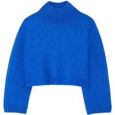 Vika Gazinskaya Cropped bouclé-wool turtleneck sweater ($870) ❤ liked on Polyvore featuring tops, sweaters, blue turtleneck sweater, cropped turtleneck, woolen sweater, wool sweaters and turtleneck sweater