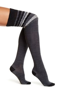 Striped Chevron Over-The-Knee Socks