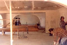 Interior of Terra-Dome earth shjeltered house under construction