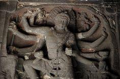 Shiva, Bhairava, Elora caves, Kailasha