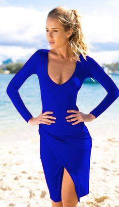 Low-cut Bodycon Irregular Pure Color Sexy Dress