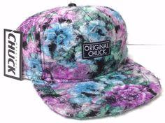 new FUZZY FLORAL ORIGINAL-CHUCK SNAPBACK HAT Flat-Bill Men/Women Purple/Blue NWT #OriginalChuck #BaseballCap