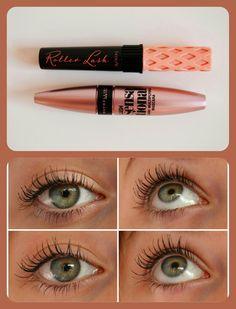 Maybelline Lash Sensational Vs Benefit Roller Lash Mascara (top row: Benefit / bottom row: Maybelline)