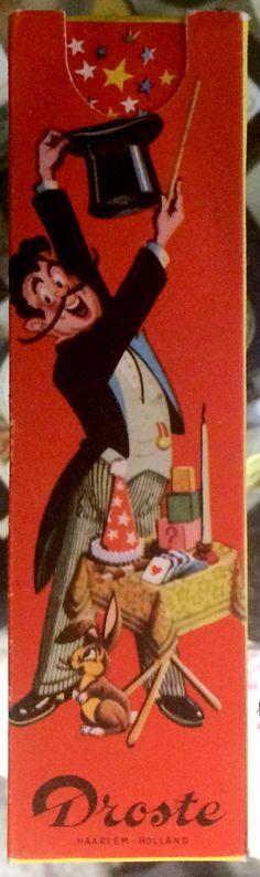 Schokoladenverpackung der Fa. Droste, bei der aus dem Zylinder des Künstlers Tauben und anderes erscheint, wenn man den Schieber herauszieht.