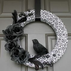 {Halloween Crafts & Decor Collection} this doorway gets a touch of Poe with a Nevermore Wreath by Create. Craft. Love