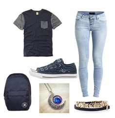 """""""Navy blue"""" by spunkyandunique368 ❤ liked on Polyvore featuring Hollister Co., Object Collectors Item, Converse, House of Harlow 1960, women's clothing, women, female, woman, misses and juniors"""