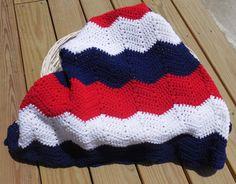 Patriotic Ripple Crochet Baby Blanket Red White by GabbysQuilts