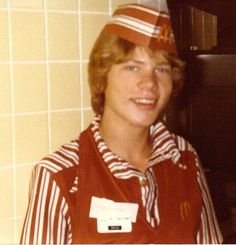 McDonald's grill crew trainer 1980. This is the uniform I wore when I worked there in 1980. I hated the paper hats. The girls got the nicer looking baseball cap style ones for some reason.