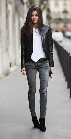 Gray Denim and Leather Jacket