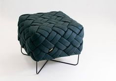 KUTO by Kumeko Design: pouf / stool, woven design, Swiss wool upholstery, hand-made in Berlin