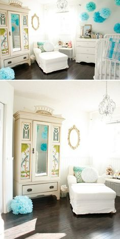 bright white nursery with pops of turquoise