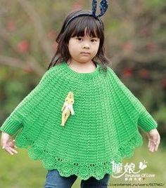 Ponchos a crochet para niñas - Imagui