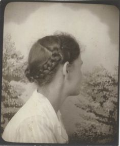 ** Vintage Photo Booth Picture ** Turning away perhaps to show her pretty braids.