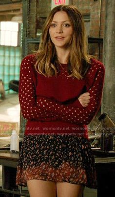 Paige's red perforated sweater and printed skirt on Scorpion.  Outfit Details: https://wornontv.net/55214/ #Scorpion
