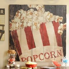 Red  White Popcorn Box Wall Plaque | Kirklands