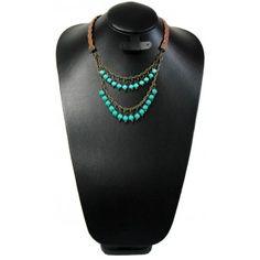 Collar de Moda con Perla, Cristal y Piel Sintética