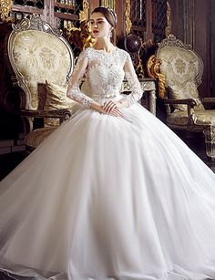 A-line Wedding Dress Floor-length Jewel Tulle with Appliques / Beading 5011236 2016 – $189.99