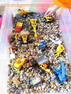 Construction Themed Sensory Box (Photo from Pink and Green Mama)