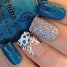 Polka Dots, Bow and Glitter Nail Design.