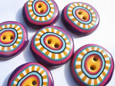 Polymer Clay Cane Buttons by orly rabinowitz on Flickr