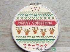 christmas cross stitch pattern, christmas reindeer, modern cross stitch, nordic folk art, PDF ** instant download**