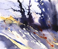 Winter trees at Styal, Watercolour landscape by Adrian Homersham.