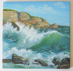 Original oil painting Seascape painting Sea wave painting