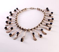 Necklace | Artist ? (Mexican).  Sterling & Lapis or Sodalite.