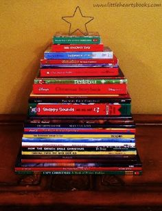 Bookish & Craftastic Advent Ideas~Picturebook Christmas Tree; Advent printables; Vintage library pockets... www.littleheartsbooks.com