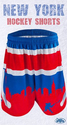 Are you a true blue NY Hockey fan? Rock your team colors and love for your city with these New York Hockey shorts! Order yours today!