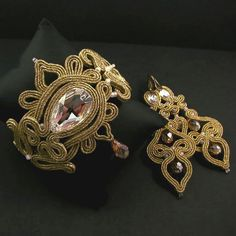 Bridal set earrings bracellet Soutache princess par byPiLLowDesign, $238.00