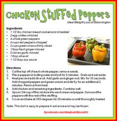 These Chicken Stuffed Peppers will make a delicious, fun dinner! Burrito Casserole, Casserole Recipes, Chicken Stuffed Peppers, Stuffed Green Peppers, Ideal Poultry, Recipe R, Turkey Tacos, Ideal Protein, Protein Diets